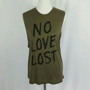 No Love Lost Studded Graphic Muscle Tank Top
